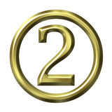 3D Golden Number 2 Stock Images