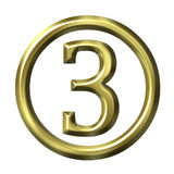 3D Golden Number 3 Royalty Free Stock Photos