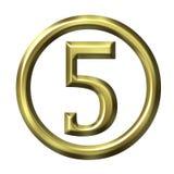 3D Golden Number 5 Stock Image