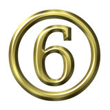 3D Golden Number 6 Stock Images