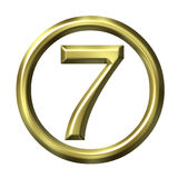 3D Golden Number 7 Stock Photos