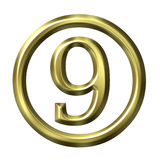 3D Golden Number 9 Royalty Free Stock Photography