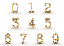 3d golden numbers. 3d rendering of the numbers in gold metal on a white isolated background Stock Image