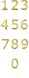 3d golden numbers with reflection Royalty Free Stock Photo