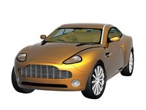 3d golden paint car. Sport car isolated on the white background Stock Photo
