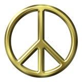 3d golden peace symbol διανυσματική απεικόνιση