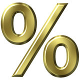 3D Golden Percentage Symbol Royalty Free Stock Photography