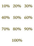 3D Golden Percentages. Isolated in white Stock Photo