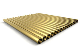 3d golden pipes Royalty Free Stock Image