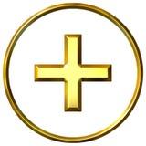 3D Golden Positive Energy Symbol Stock Photo