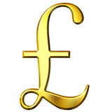 3D Golden Pound Symbol. Isolated in white Royalty Free Stock Photography