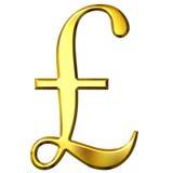 3D Golden Pound Symbol Royalty Free Stock Photography