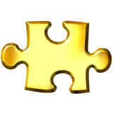 3D Golden Puzzle Piece Stock Image