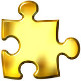 3D Golden Puzzle Piece Royalty Free Stock Photography