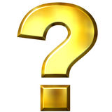 3D Golden Question Mark. Isolated in white Stock Photos
