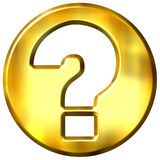 3D Golden Question Sign Royalty Free Stock Images