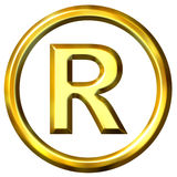 3D Golden Registered Symbol Stock Images