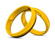 3D golden rings for wedding 01. Two golden rings on white background stock illustration