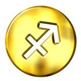 3D Golden Sagittarius Zodiac Sign Stock Images