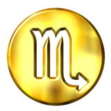 3D Golden Scorpio Zodiac Sign Royalty Free Stock Photo