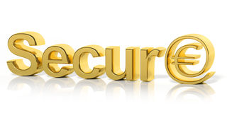 3D golden secure text and money Royalty Free Stock Photo