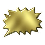 3D Golden Shout Bubble. Isolated in white Stock Photography