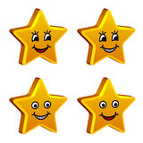 3d golden smiling stars Stock Photo