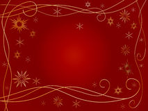 3d golden snowflakes. Over red background with feather center Royalty Free Stock Images