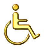 3D Golden Special Needs Symbol Royalty Free Stock Image