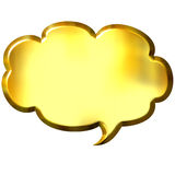 3D Golden Speech Bubble. Isolated in white Royalty Free Stock Photos