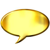 3D Golden Speech Bubble. Isolated in white Royalty Free Stock Images