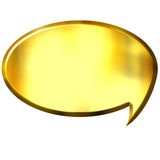 3D Golden Speech Bubble. Isolated in white Stock Photo