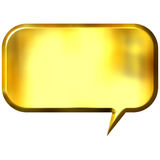 3D Golden Speech Bubble. Isolated in white Stock Image