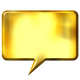 3D Golden Speech Bubble. Isolated in white Stock Photography