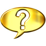 3d golden speech bubble with question mark. Isolated in white Stock Images
