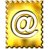 3d golden stamp with email symbol Stock Images