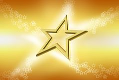 3d golden star. On yellow background Royalty Free Stock Photo