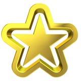 3d golden star. 3D rendering of golden star on white background Royalty Free Stock Images