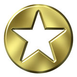 3D Golden Star Badge. Isolated in white Royalty Free Stock Image