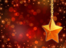 3d golden star with chains and lights Stock Image