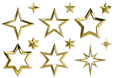 3D golden star collection Stock Images