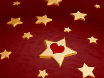 3d golden stars with red heart vector illustration