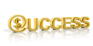 3D golden success text and money Royalty Free Stock Image