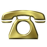 3D Golden Telephone Stock Images