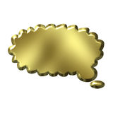 3D Golden Thought Bubble. Isolated in white Royalty Free Stock Photo