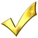 3D Golden Tick Royalty Free Stock Photos