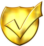 3D Golden Ticked Shield. Isolated in white Stock Photos