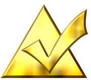 3D Golden Ticked Triangle. Isolated in white Royalty Free Stock Images
