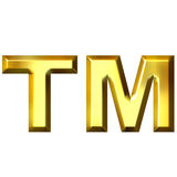 3D Golden Trademark Symbol. Isolated in white Stock Photography