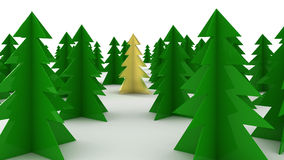 3d golden tree. 3d render of golden christmas tree among others Royalty Free Stock Photography